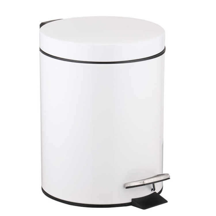Metal Office Home Indoor Trash Can With Step Pedal 7L Dust Bin Storage