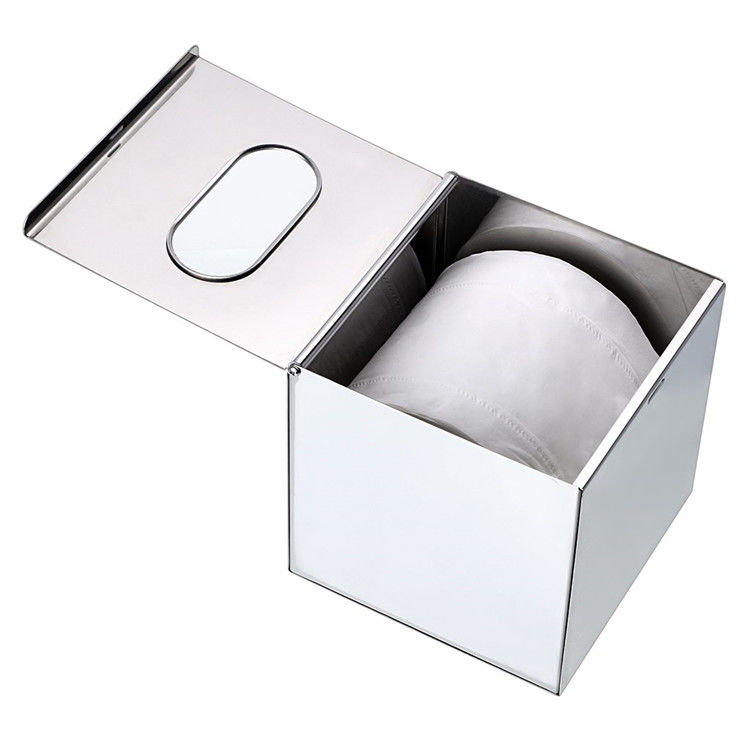Cube Finished Ss Toilet Roll Storage Box Desktop Tissue Box Holders